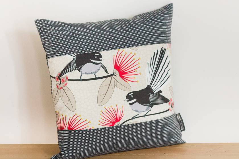 3 Pīwakawaka - Fantail Cream Cushion Covers with Black Check Boarder Set of 3 covers