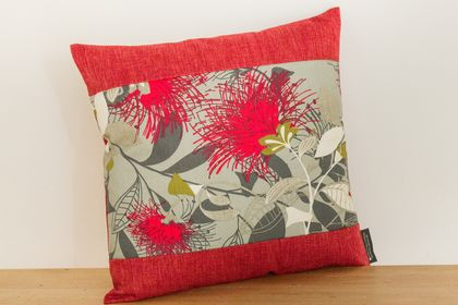 Grey Pohutukawa Cushion Cover with Red Boarder