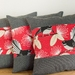 3 Pīwakawaka - Fantail Red Cushion Covers with Black Check Boarder Set of 3 covers