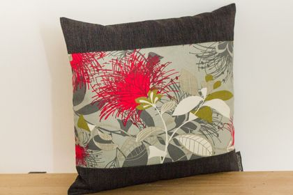 Grey Pohutukawa Cushion Covers with Black Boarder