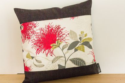 2 Cream Pohutukawa Cushion Covers with Black Boarder (Set of 2 covers)