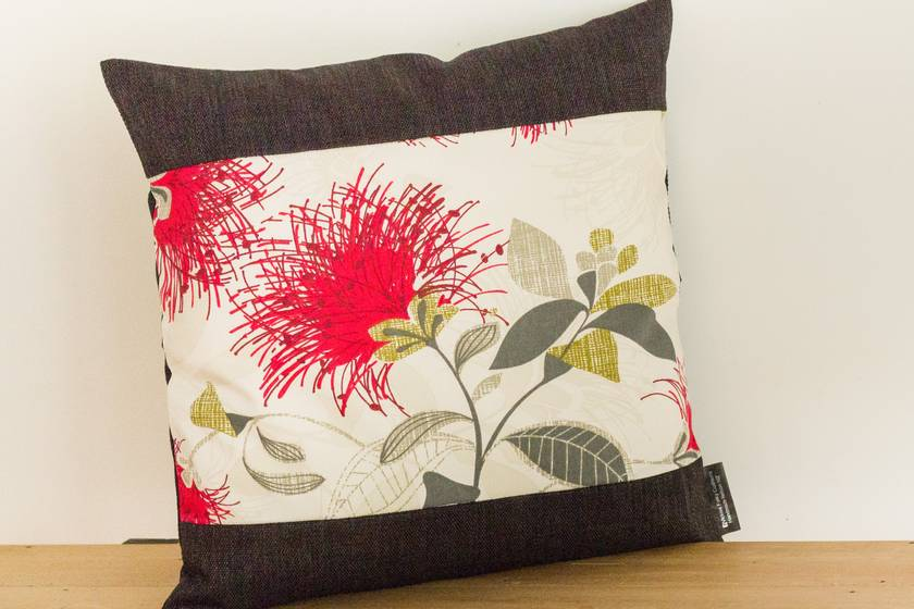 2 Cream Pohutukawa Cushion Covers with Black Boarder (Set of 2 covers) NZ MADE