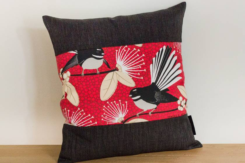 Fantail Red Cushion Cover with Black Boarder