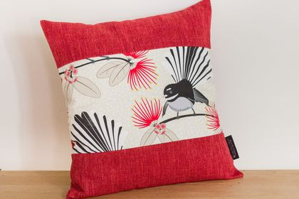 Pīwakawaka - Fantail Cream Cushion Cover with Red Boarder NZ MADE