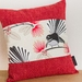 Pīwakawaka - Fantail Cream Cushion Cover with Red Boarder