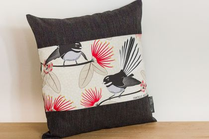 Fantail Cream Cushion Cover with Black Boarder