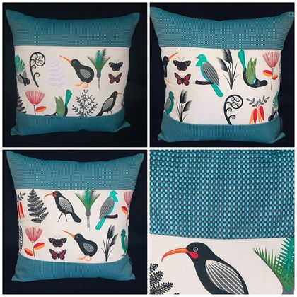 NZ Native Birds Cushion Covers with Gili - Kingfisher Set of 3 covers NZ MADE