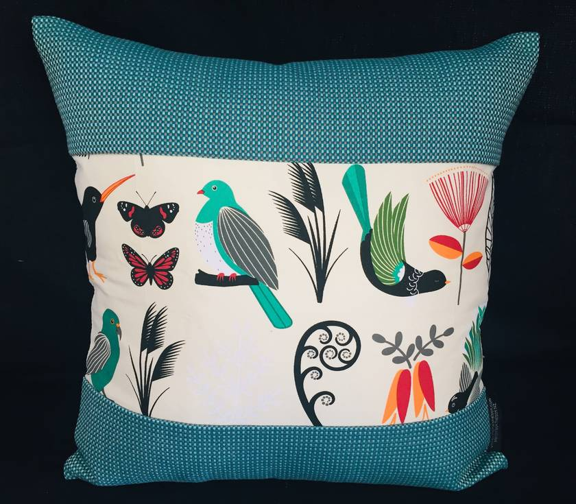 NZ Native Birds Cushion Covers with Gili - Kingfisher Set of 3 covers