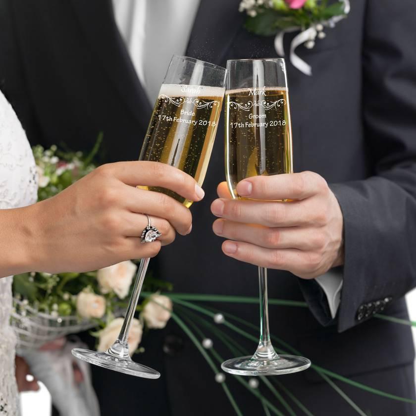 Bride and Groom personalised toast glasses