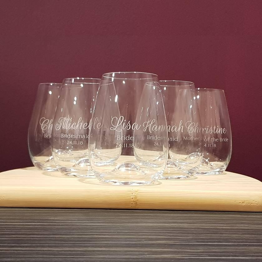 Personalised Bridesmaid Stemless wine glasses set of 5