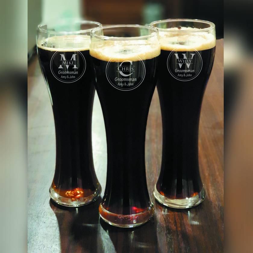 Groomsmen beer glass - personalised