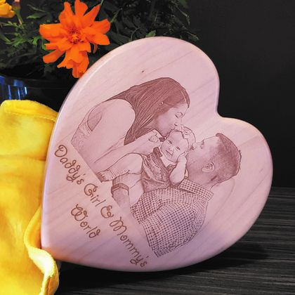 Any Photo Engraved On Heart Shaped Wooden Plaque With Your Own Message (plaque size is 7.5 inch x 7.5 inch)