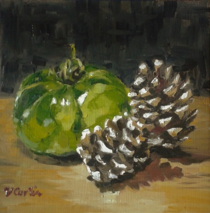 Green Tomato and Pinecones - small original oil painting, by Vicky Curtin