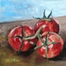 Tomatoes - small oil painting, by Vicky Curtin