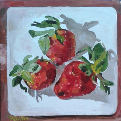 Strawberry Platter - small, original oil painting, by Vicky Curtin