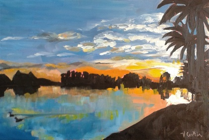 Hamilton Lake Sunset - original oil painting, by Vicky Curtin