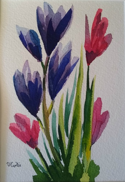 Pink and Purple Crocuses - original watercolour, by Vicky Curtin
