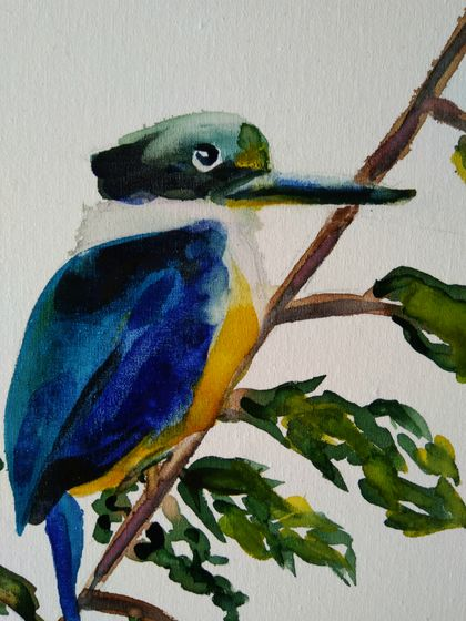 Kingfisher Bird - original watercolour on board, by Vicky Curtin