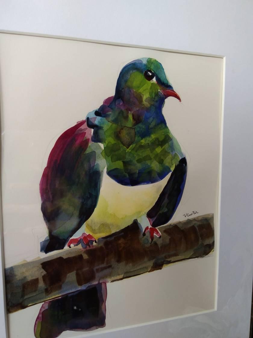 Kereru bird - original watercolour, by Vicky Curtin