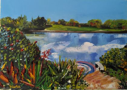Turtle Lake - Hamilton Gardens - oil painting, by Vicky Curtin
