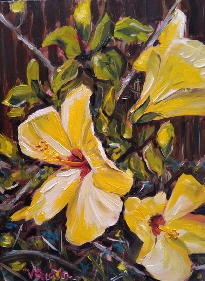 Yellow Hibiscus - original oil painting, by Vicky Curtin