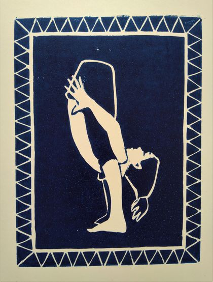 Contortionist - original lino cut print, by Vicky Curtin
