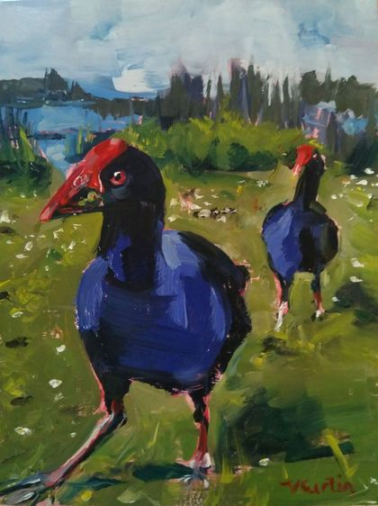 Pukeko - Original Oil on panel, by Vicky Curtin