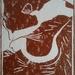 Cat Sleeping - original linocut print, by Vicky Curtin