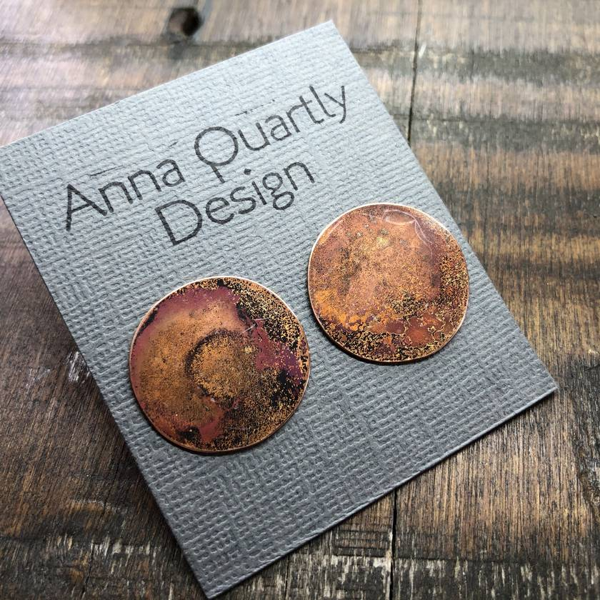 Handcrafted Burnt Copper Earrings