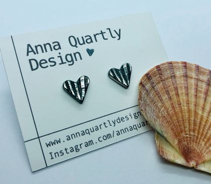 Oxidised Silver Scallop Shell Earrings