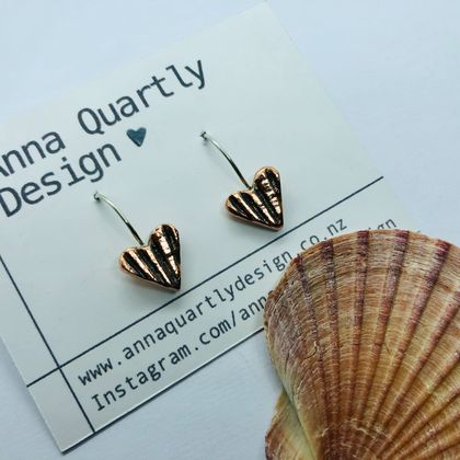 Copper Scallop Shell Heart Earrings
