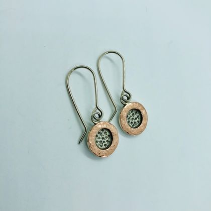 Rose Bloom Copper & Silver Earrings