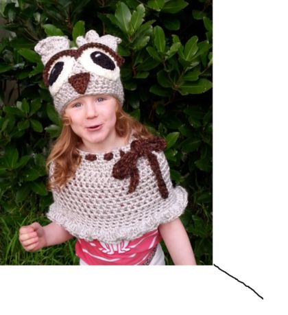 Odette Owl Crocheted Hat and Poncho Set