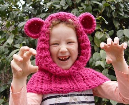 Pink Childs' Hooded Cowl With Ears