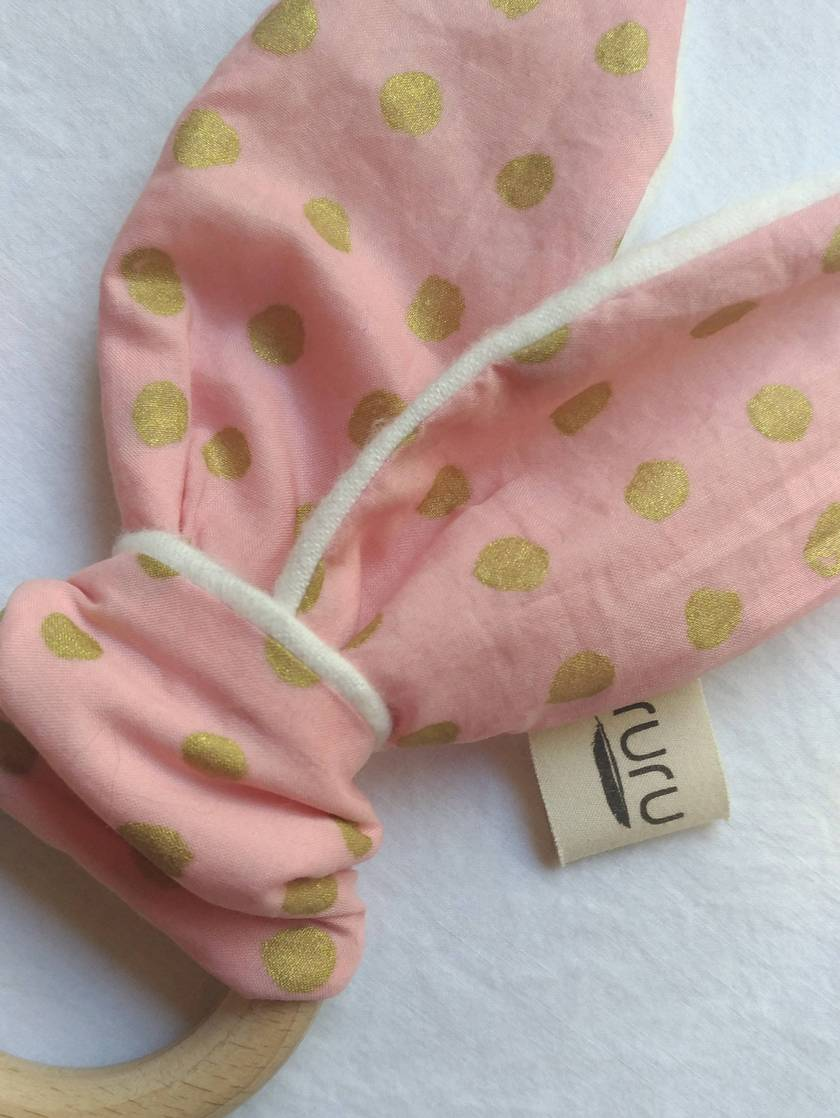 Sale! 20% off! Organic Cotton with super soft Organic Bamboo Flannel, Beech (wooden) Teether - golden pink
