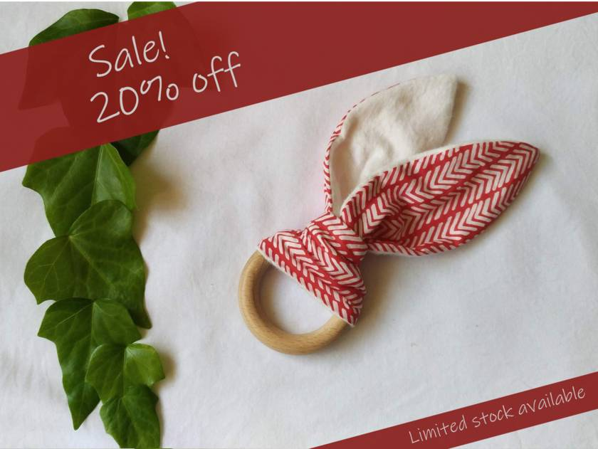 Sale! 20% off! Organic Cotton with super soft Organic Bamboo Flannel, Beech (wooden) Teether - red arrow