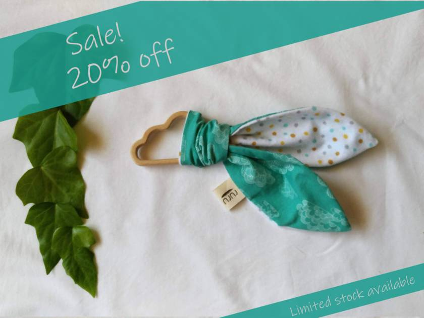 Sale! 20% off! Land of the Long White Cloud Organic Cotton & Beech Teether (wooden)
