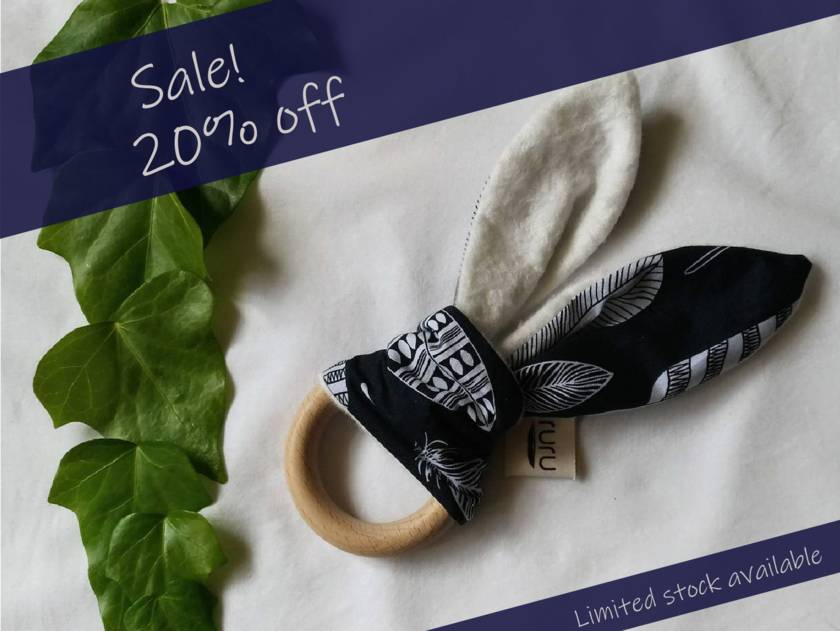 Sale! 20% off! Feather with Organic Bamboo Flannel, Organic Beech (wooden) Teether - navy