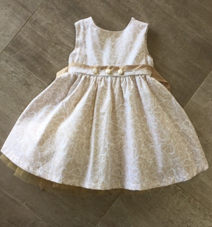 Stunning Cotton Beige and Gold Dress with Pearl buttons
