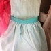 Stunning Pure Cotton Aqua and White Striped Dress With Sash and Shocking Pink Half Petticoat