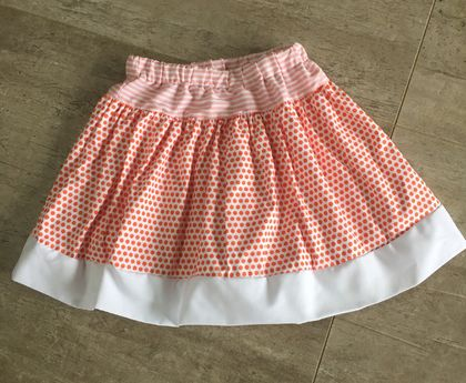 Pure Cotton Orange and White Combination stripes and spotted skirt.