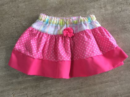 Pure Cotton Shocking pink skirt with pink rosette trim