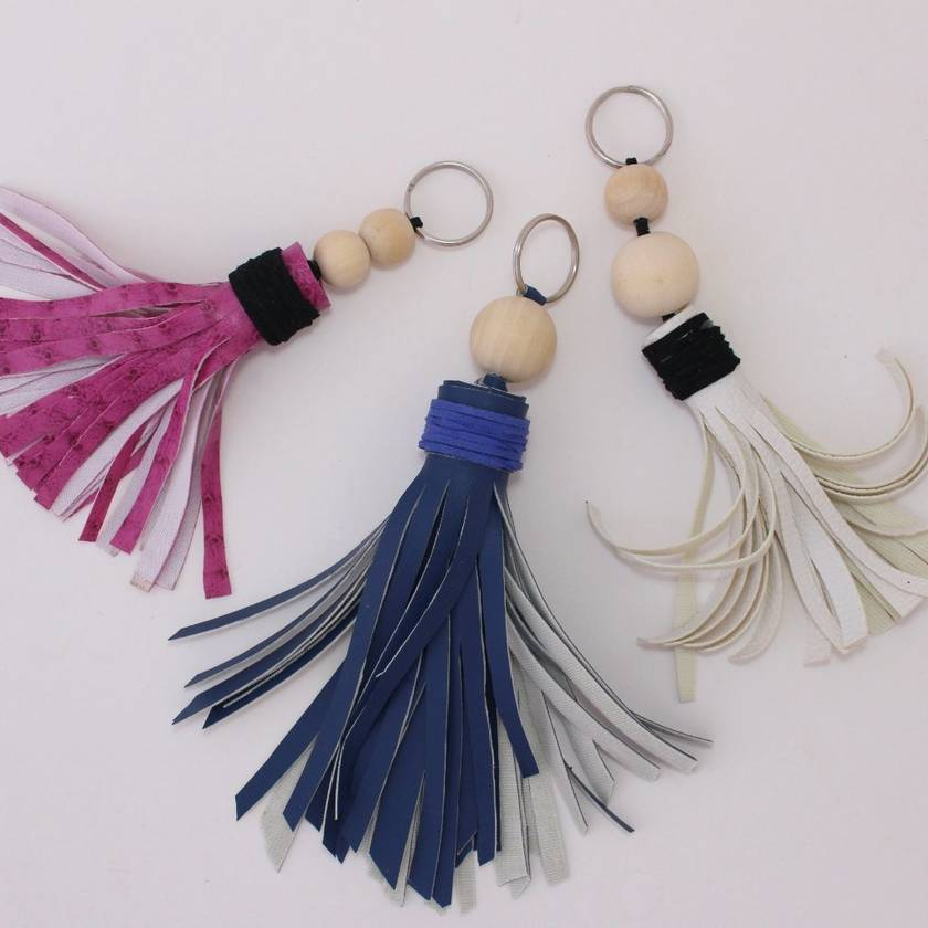 Leather and Bead Key Chain