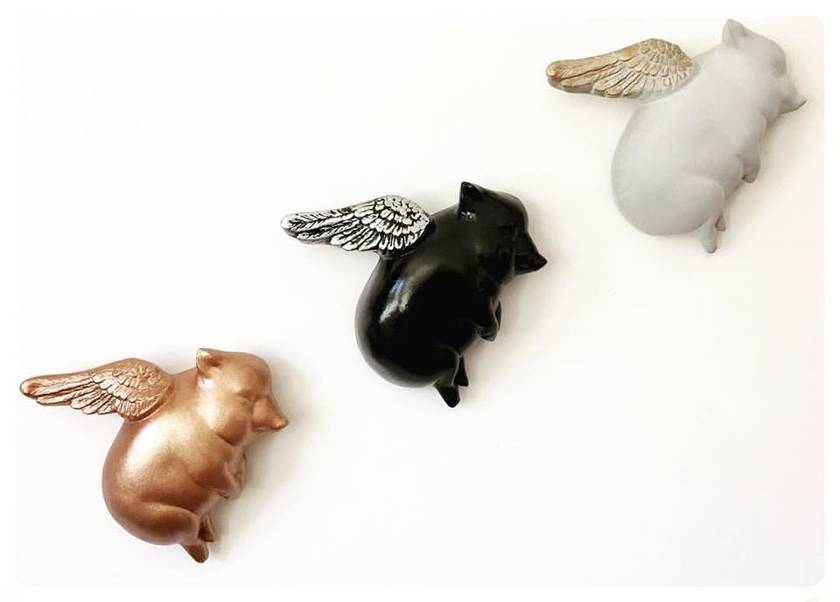 Oink Flying Pigs - Mix n Match Set - Copper, Black with Silver & Concrete with Gold