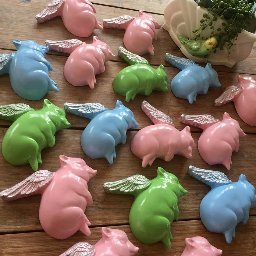 Oink Flying Pigs - Green & Gold