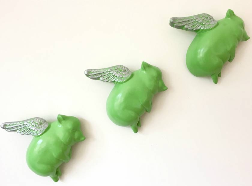 Oink Flying Pigs - Green & Silver