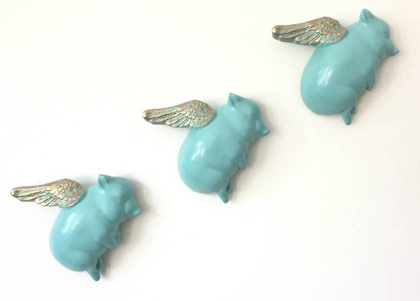 Oink Flying Pigs - Teal & Gold