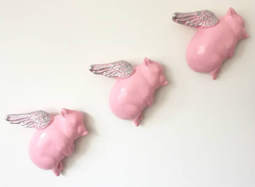 Oink Flying Pigs - Pink & Silver