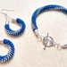 Bracelet and Earrings Set, Blue and Silver Spiral