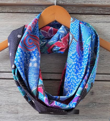 Blue, Black, and Red Cotton Batik Infinity Scarf